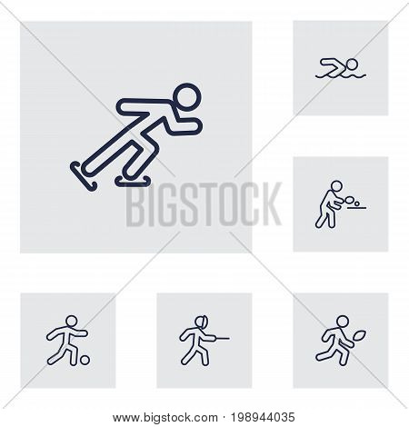 Set Of 6 Athletic Outline Icons Set