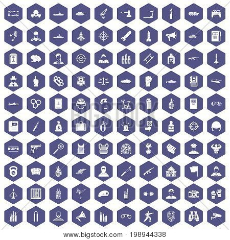100 officer icons set in purple hexagon isolated vector illustration