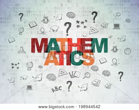 Education concept: Painted multicolor text Mathematics on Digital Data Paper background with  Hand Drawn Education Icons