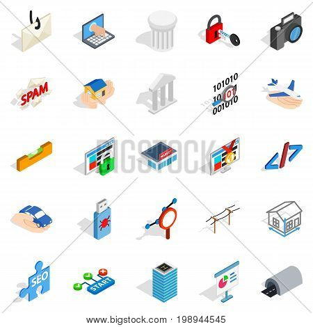 SEO optimisation icons set. Isometric set of 25 seo optimisation vector icons for web isolated on white background