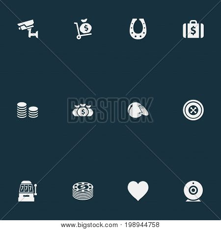 Elements Portfolio, Rate, Addiction And Other Synonyms Camera, Supervision And Music.  Vector Illustration Set Of Simple  Icons.