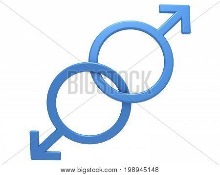 Gay symbol. Two male gender symbols, close-up on a white background, 3D illustration.