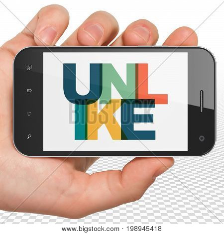 Social network concept: Hand Holding Smartphone with Painted multicolor text Unlike on display, 3D rendering