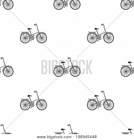 Children's bicycle with low frame and luggage compartment flaps.Different Bicycle single icon in black style vector symbol stock web illustration.