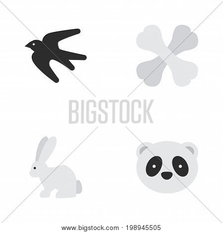 Elements Sparrow, Skeleton, Hare And Other Synonyms Animal, Sparrow And Skeleton.  Vector Illustration Set Of Simple Fauna Icons.