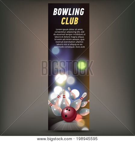 Bowling horizontal banner with bowling champ club and leagues symbols realistic isolated vector illustration