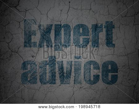 Law concept: Blue Expert Advice on grunge textured concrete wall background