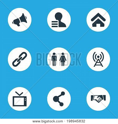 Elements Connection, Radio Tower, Cv And Other Synonyms Telly, Recruitment And Couple.  Vector Illustration Set Of Simple Network Icons.