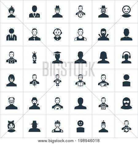 Elements Girl Face, Workman, Job Man And Other Synonyms Postgraduate, Member And Mustache.  Vector Illustration Set Of Simple Human Icons.