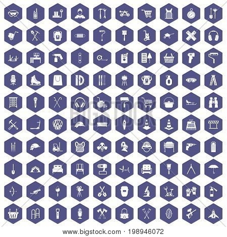 100 outfit icons set in purple hexagon isolated vector illustration