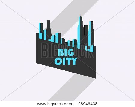 Big City, Banner With Ribbon. Bauhaus Style. Vector Illustration