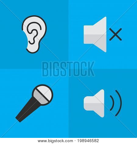 Elements Volume, Loudness, Mike And Other Synonyms Ear, Listen And Hear.  Vector Illustration Set Of Simple Music Icons.