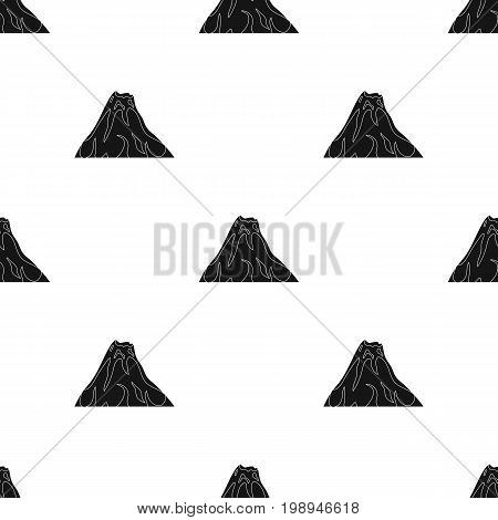 Sharp mountains, on the tops of which the snow melts.Different mountains single icon in black style vector symbol stock web illustration.