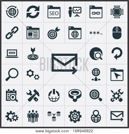 Elements Linkage, Password, Motherboard And Other Synonyms Zoom, Screwdriver And Construction.  Vector Illustration Set Of Simple Search Icons.