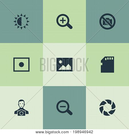 Elements Registration, Rustication, Prohibited Camera And Other Synonyms Enrollment, Micro And Camera.  Vector Illustration Set Of Simple Photography Icons.