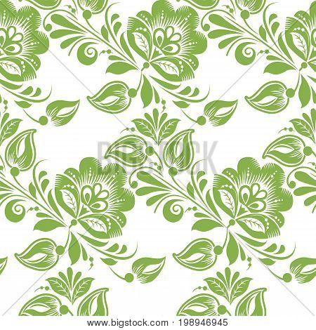 Greenery floral leaves seamless pattern background, illustration. Spring, abstract foliage