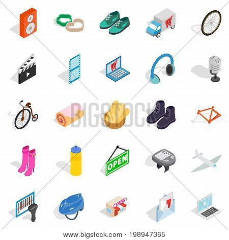 Online purchases icons set. Isometric set of 25 online purchases vector icons for web isolated on white background