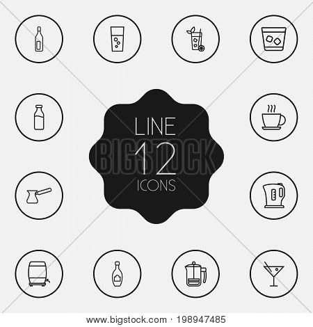 Set Of 12 Beverages Outline Icons Set