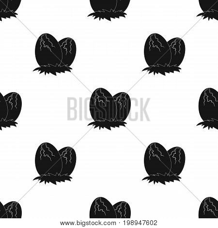 Eggs of dinosaur icon in black design isolated on white background. Dinosaurs and prehistoric symbol stock vector illustration.