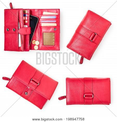 Wallet with credit cards and smartphone isolated on white background. Female red purse collection. Top view flat lay