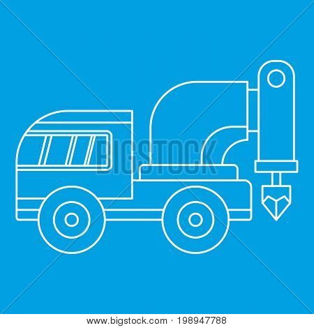 Drilling machine icon blue outline style isolated vector illustration. Thin line sign