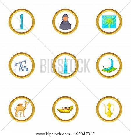 UAE travel icons set. Cartoon set of 9 UAE travel vector icons for web isolated on white background