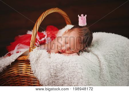 photo of cute newborn baby in the basket