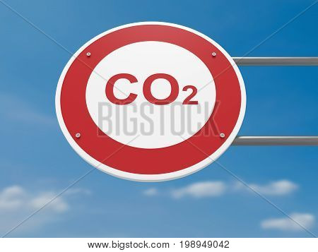 German Traffic Sign Environmental Protection Concept: CO2 Carbon Dioxide Prohibited Driving Ban 3d illustration