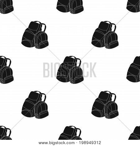 Pair of travel backpacks icon in black design isolated on white background. Family holiday symbol stock vector illustration.