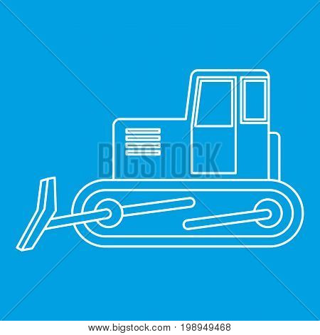Bulldozer icon blue outline style isolated vector illustration. Thin line sign