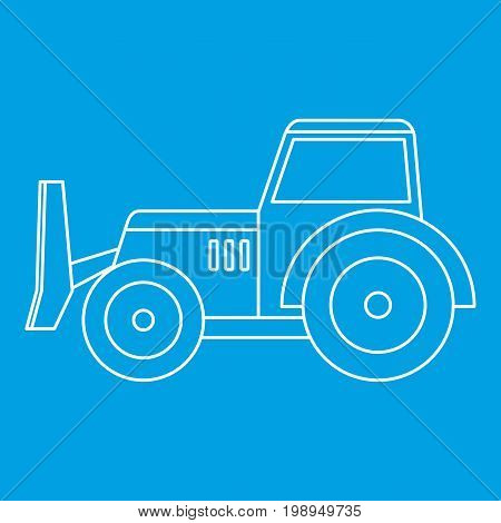 Skid steer loader bulldozer icon blue outline style isolated vector illustration. Thin line sign