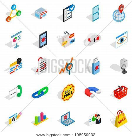 Local server icons set. Isometric set of 25 local server vector icons for web isolated on white background