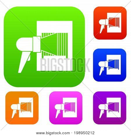Bar code on cargo set icon in different colors isolated vector illustration. Premium collection