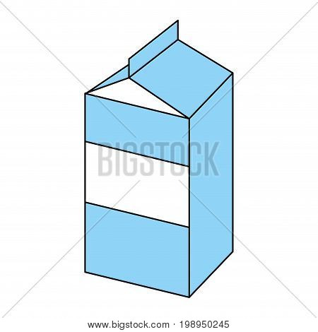 Flat line milk carton with a hint of color over white background vector illustration