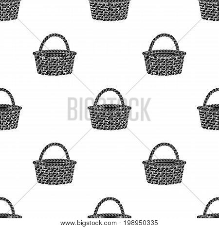 Straw basket for carrying fruits and vegetables in the village.Farm and gardening single icon in black style vector symbol stock web illustration.