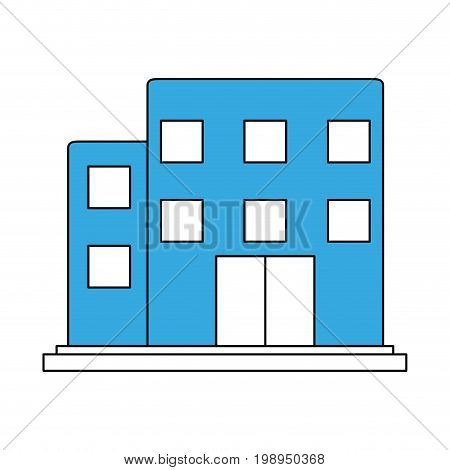 Flat line building with a hint of color over white background vector illustration