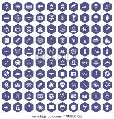 100 photo icons set in purple hexagon isolated vector illustration