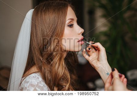 Happy Bride Is Preparing For The Wedding