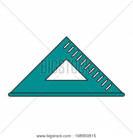 Flat line squad ruler with a hint of color over white background vector illustration