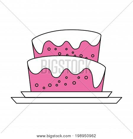 Flat line cake with a hint of color over white background vector illustration
