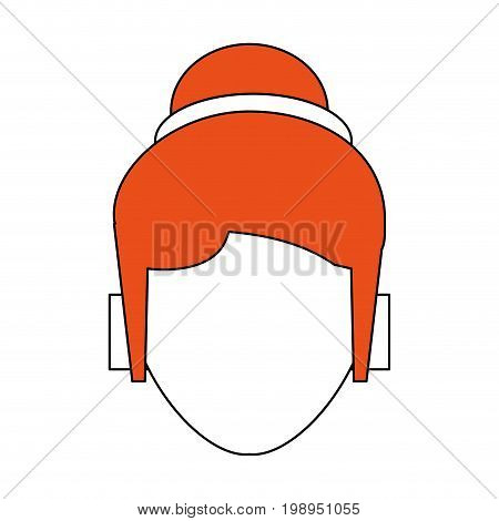 Flat line woman head with a hint of color over white background vector illustration