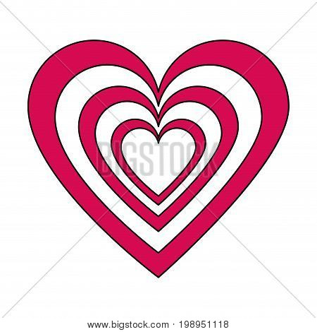 Flat line heart with a hint of color over white background vector illustration