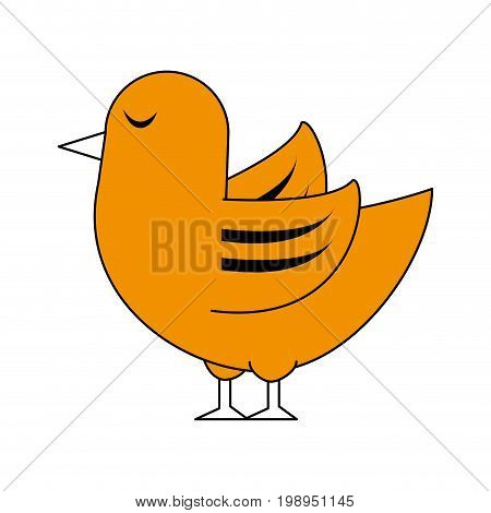 Flat line bird with a hint of color over white background vector illustration