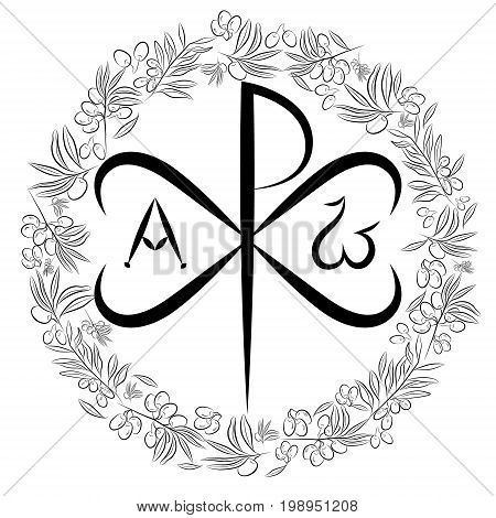 Chi Ro Chrisma or Chrismon. Monogram of the name of Christ. I am Alfa and Omega. Biblical lettering. olive tree as a symbol of eternal peace in Christian religion. Vector design.
