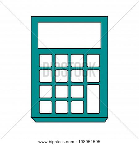 Flat line calculator with a hint of color over white background vector illustration