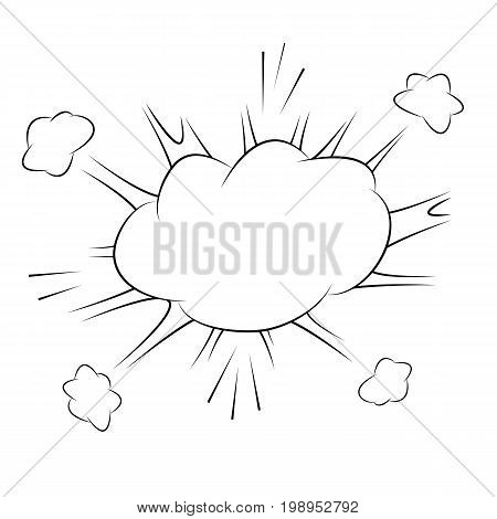 Comic action bubble on white background vector illustration. Exclamation or explosion speech bubble. Emotional text cloud in retro style. Pop art message box. Retro cloud for sale or discount message