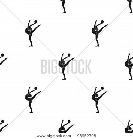 Skinny girl with ball in hand dancing sports dance. The girl is engaged in gymnastics.Olympic sports single icon in black style vector symbol stock web illustration.