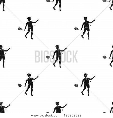 Young people involved in badminton. The game of badminton with a partner.Olympic sports single icon in black style vector symbol stock webillustration.