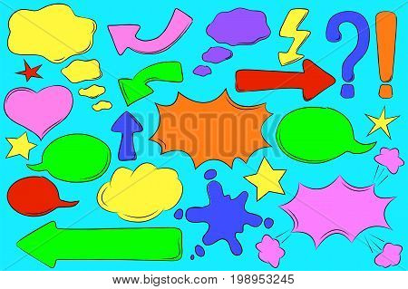 Multicolored comic bubbles for text in pop art style. Retro message box vector clipart. Blank bubbles. Arrow sign with text place. Thinking and speech cloud. Cartoon text box. Explosion speech bubble