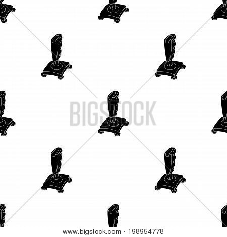 Joystick icon in black design isolated on white background. Personal computer accessories symbol stock vector illustration.